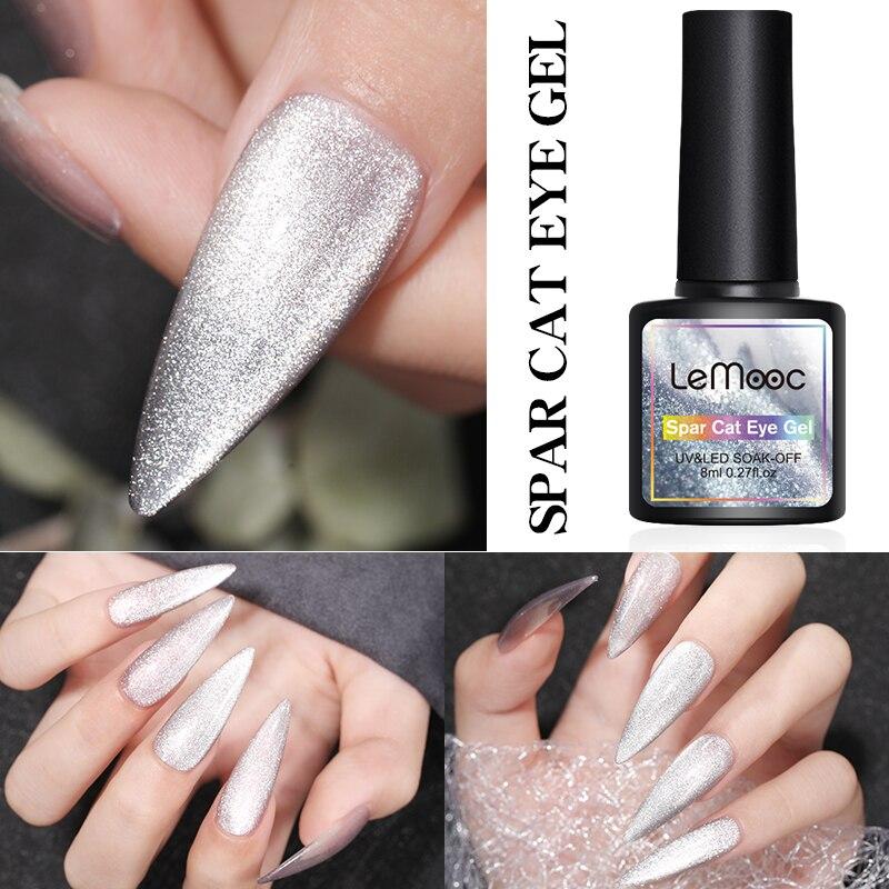 Lemooc Прозрачный Гель-лак для ногтей гибридные ногти для маникюра 8 мл Ice Spar кошачьи глаза отмачиваемый эмаль УФ-гель для ногтей