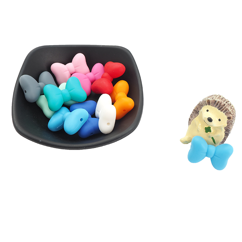 Chenkai 10PCS Bowknot Silicon Beads BPA Free Cute Silicone Pacifier For Infant DIY Baby Chewable Teething Making Jewelry Gift