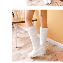 women winter waterproof snow boots platform down thickening padded mid-calf long plush boot shoes