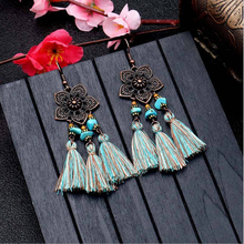 Ethinc Vintage Copper Plum Blossom Flower Charm Pendant Cotton Tassel Earring for Women Girl Accessories
