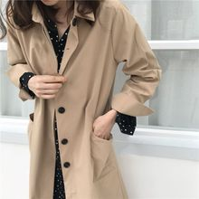 цена на Trench Korean chic Long Coat Split Fork Sleeve Fashion Simple Lapel Long Sleeve Single-breasted Trench Khaki Black Coat X