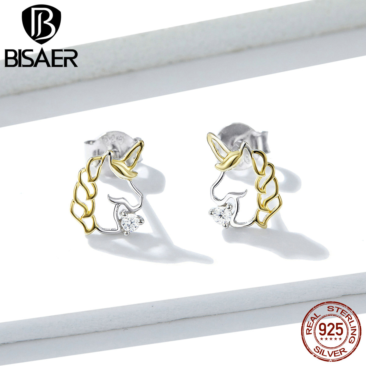 Unicorn Earrings BISAER 925 Sterling Silver Pure Love Licorne Unicorn Exquisite Stud Earrings For Women Silver Jewelry EFE234