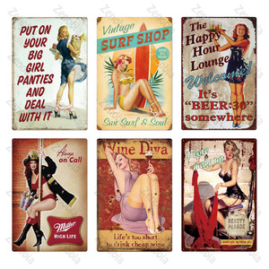 Винтажная металлическая табличка для сексуальных девушек, металлический винтажный металлический постер, Оловянная табличка для девочек, Н...