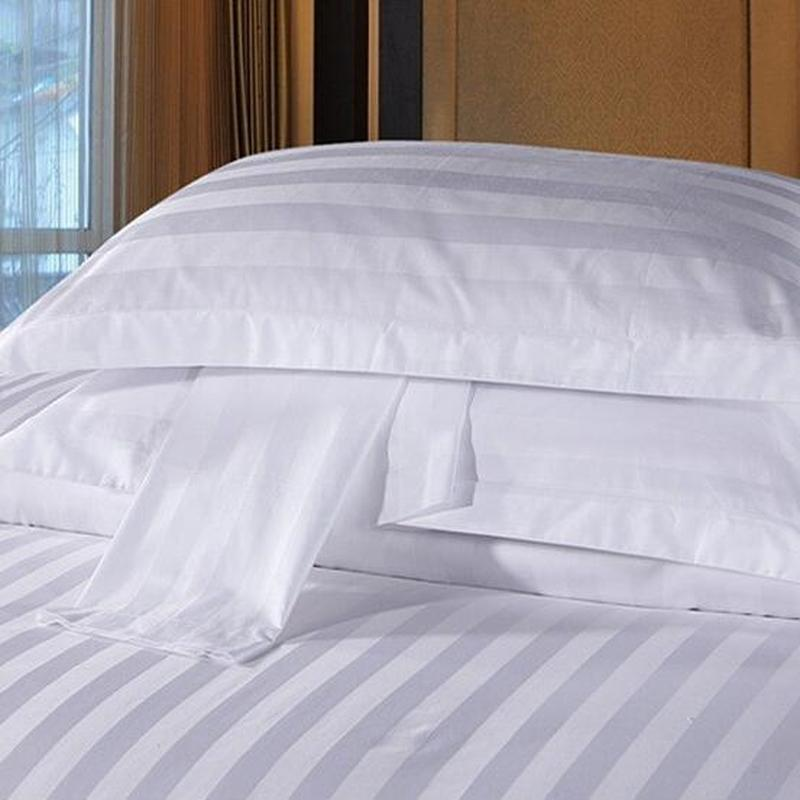 Star Hotel Hotel Bedding 100% Cotton Polyester Cotton White Encryption Satin Strip Hotel Pillowcase Single pillow case image