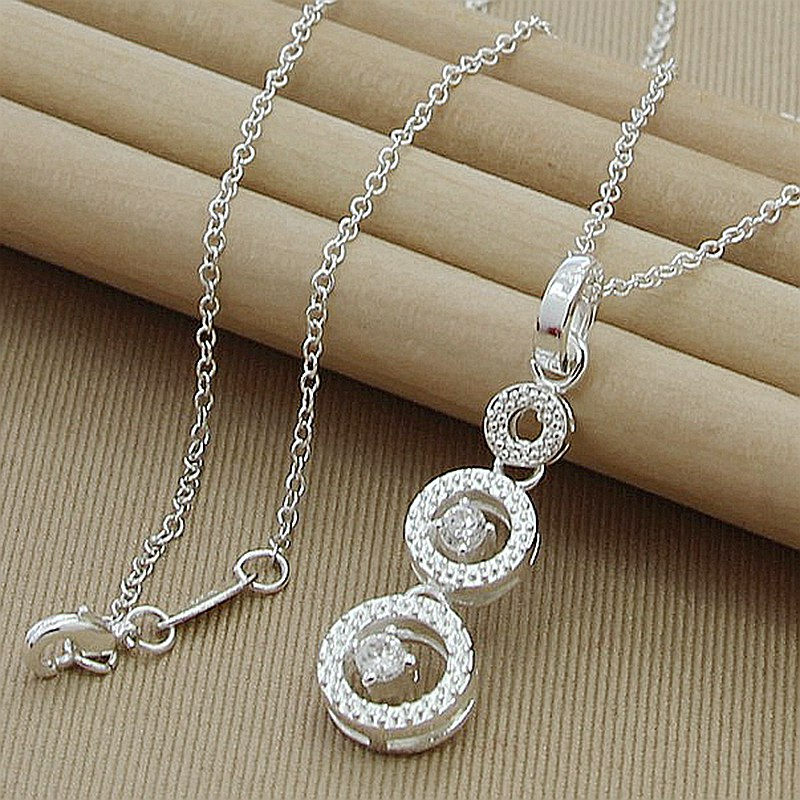 Real 925 Silver Color Pendant Necklace Love Round Hand Chain Necklace For Women Good Jewelry 45cm image