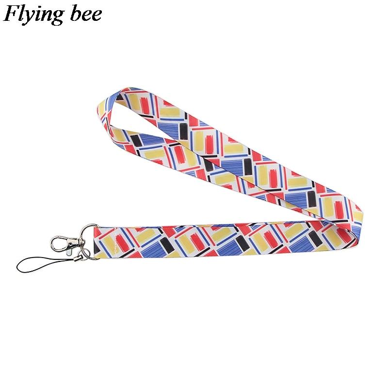 Flyingbee Colored Grid Keychain Cartoon Cute Phone Lanyard Women Fashion Strap Neck Lanyards For ID Card Phone Keys X0564