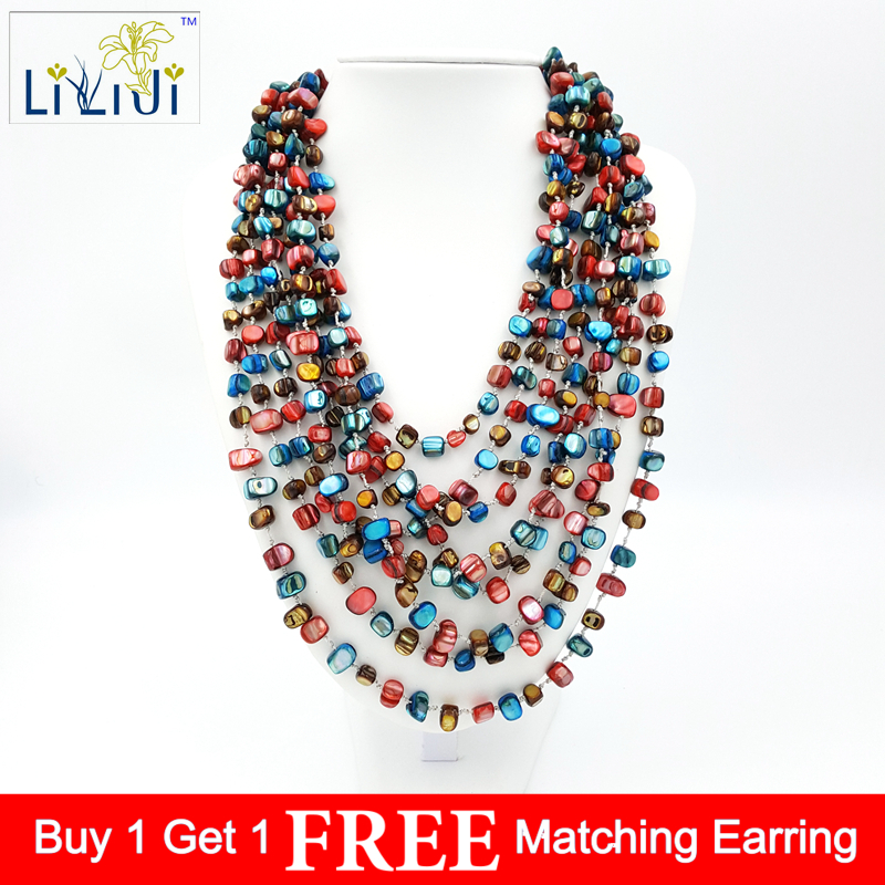 Natural Mother of pearl shell Mixed color Red&Blue Mutil strands Fashion Necklace 20inches