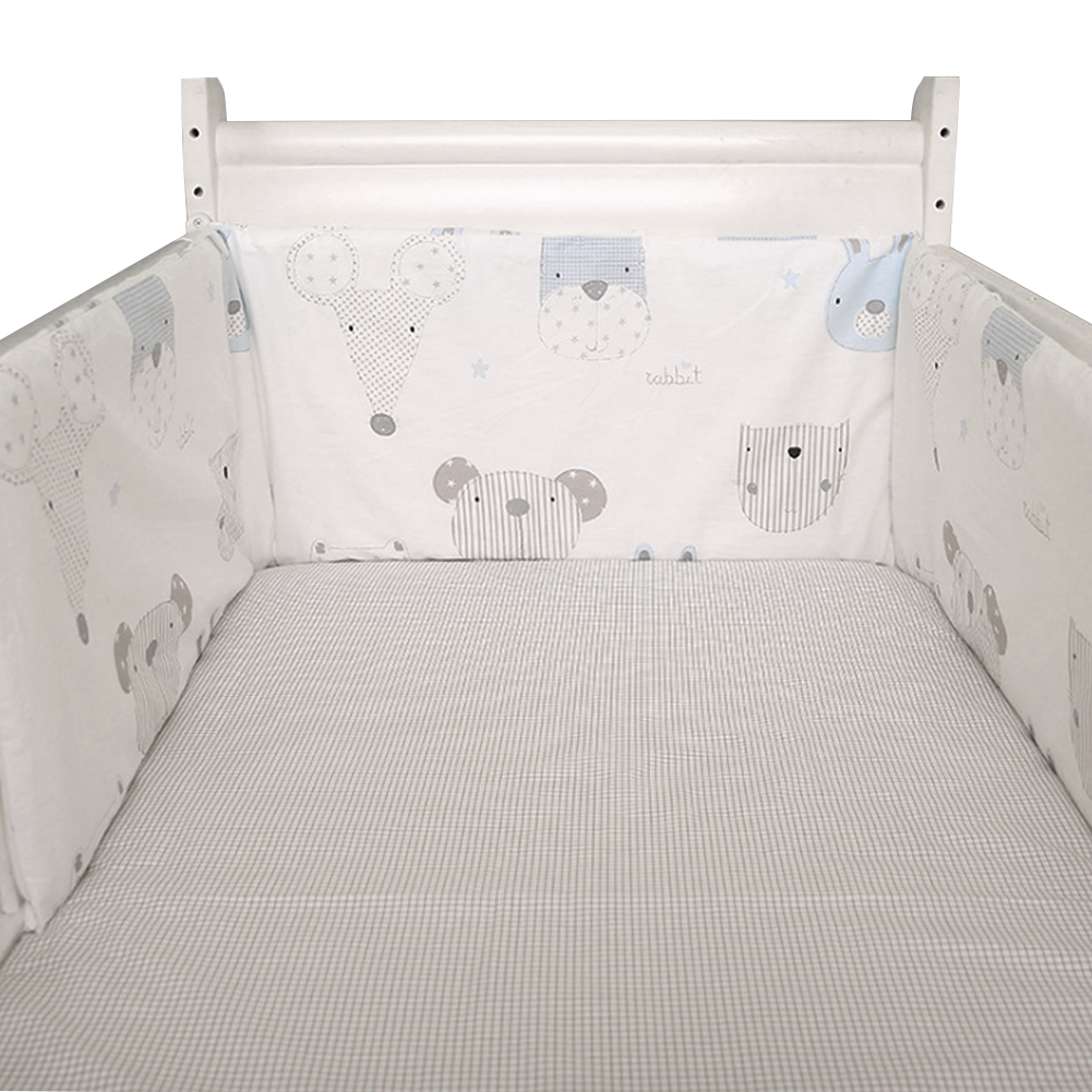 Home Detachable Breathable Decor Crib Bumper Protector Pads Nursery Bed Cotton Blend Baby Safe Washable U-shaped Soft