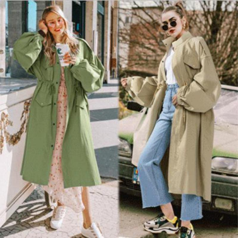 Women Coats Long Trench Coat Women's Loose Solid Color Windbreaker Women's New Arrival 2020 Fashion Drawstring Casual Coats