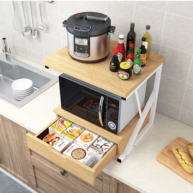 2-Tiers Kitchen Microwave Oven Rack With Drawer Home Storage Shelf Rack Kitchen Counter Shelf Organizer Tableware Space Saver