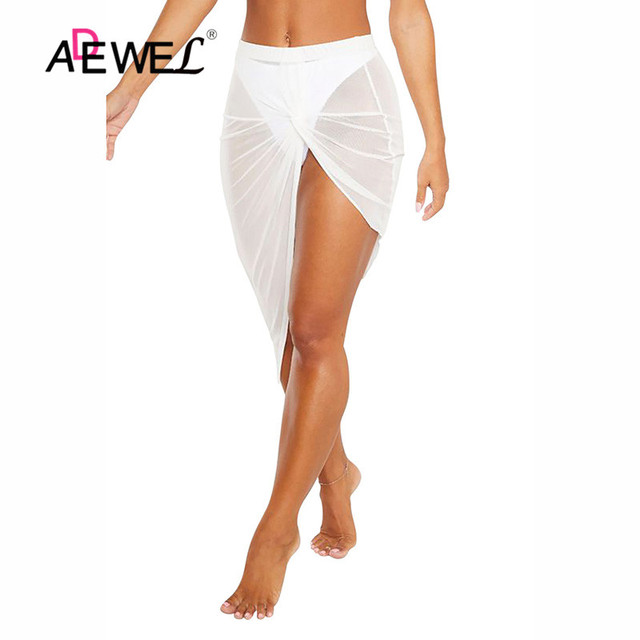 ADEWEL Black Twist Ruched Beach Skirt Women Bikinis Swimsuit Bathing Suit Cover-ups Sexy Beach Skirts Lightweight Beachwear 6