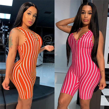 AA Sexy Women V-neck Front Zipper Bodycon Jumpsuit Romper Sleepwear Sleeveless Striped Jumpsuit Short Romper Bodysuit Leotard tiye women bodycon glitter rhinestones sexy shorts playsuit jumpsuit front zipper v neck sleeveless club romper summer overalls