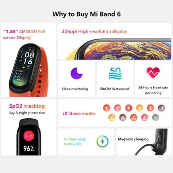 "Global Version Xiaomi Mi Band 6 Smart Bracelet 1.56""AMOLED Screen miBand 6 Heart Rate Fitness Traker Bluetooth 5 ATM Waterproof 2"