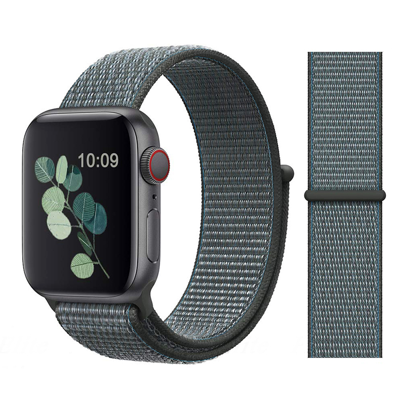 Для наручных часов Apple Watch, версии 3/2/1 38 мм 42 мм нейлон мягкий дышащий нейлон для наручных часов iWatch, сменный ремешок спортивный бесшовный series4/5 40 мм 44 мм - Цвет ремешка: Color23 Storm gray