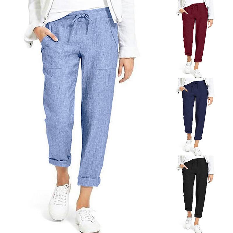 Summer Harem Pants Women's Autumn Trousers 2020 ZANZEA Elastic Waist Pantalon Woman Palazzo Drawstring Solid Sweatpant Plus Size