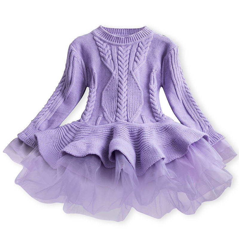 Xmas Winter Autumn Girl Dress Children Clothes Kids Dresses For Girls Party Dress Long Sleeve Knitted Sweater Toddler Girl Dress 3
