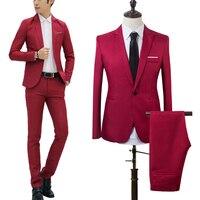 2 шт мужской новый обтягивающий официальный деловой костюм мужские s пальто брюки вечерние свадебные мужской костюм на выпускной костюм Homme ...