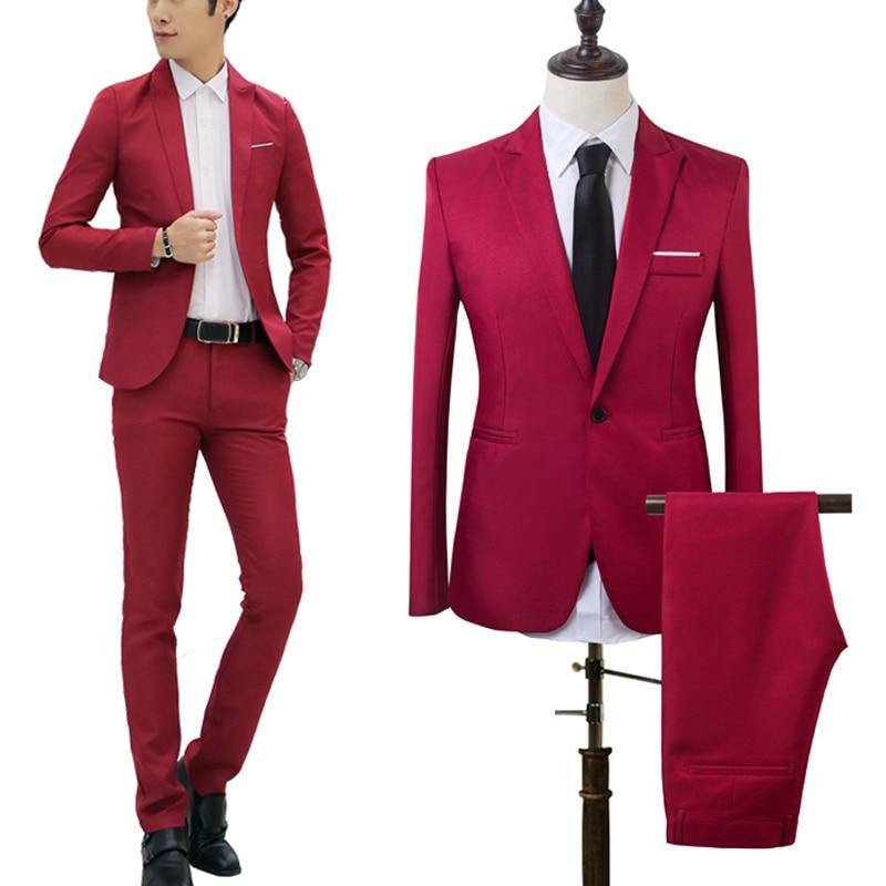 2 PCS Men New Slim Fit Formal Business Suit Mens Coat Pants Party Wedding Prom Men Suit Costume Homme 2019