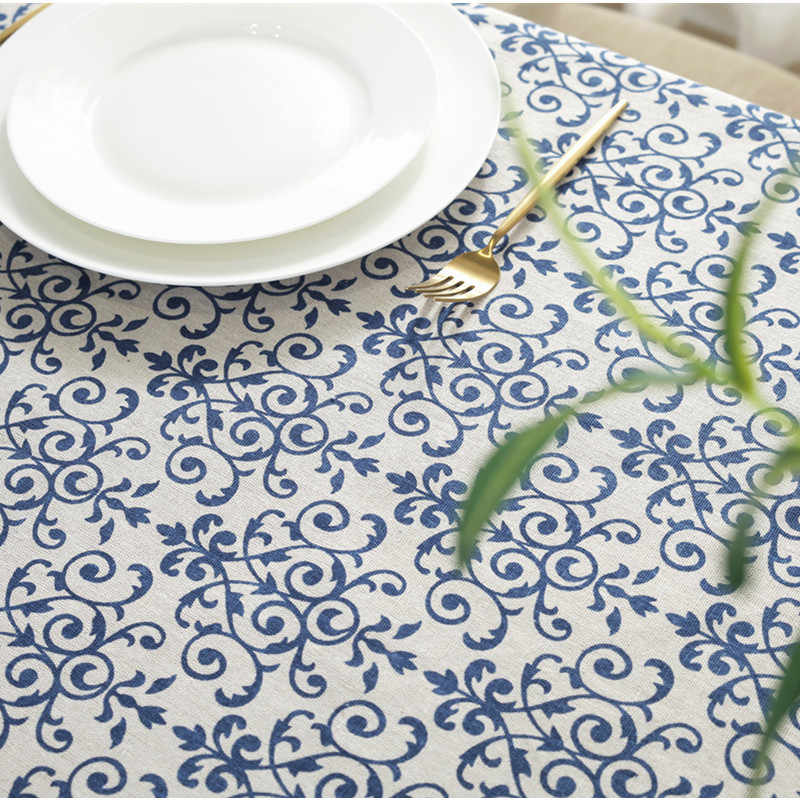 Blauw en Wit Porselein Retro Patroon Katoen Linnen Tafelkleed Kerst Europese Stijl Cover Wasbare Tafelkleed voor Thee Tafel