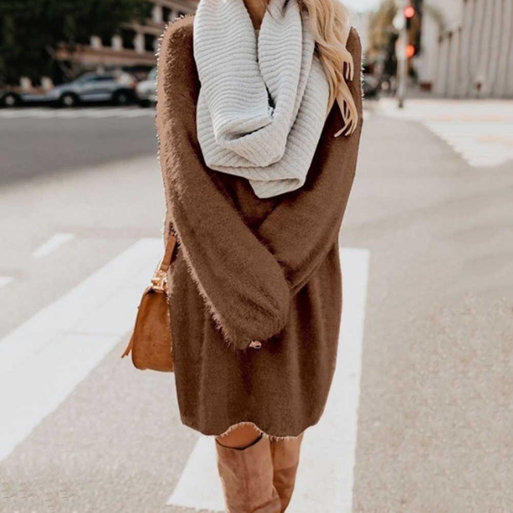 세련된 여성 드레스 가을 솔리드 컬러 오 넥 스웨터 푹신한 느슨한 무릎 길이 드레스 부드러운 얇은 느슨한 스웨터 드레스 여성 파티