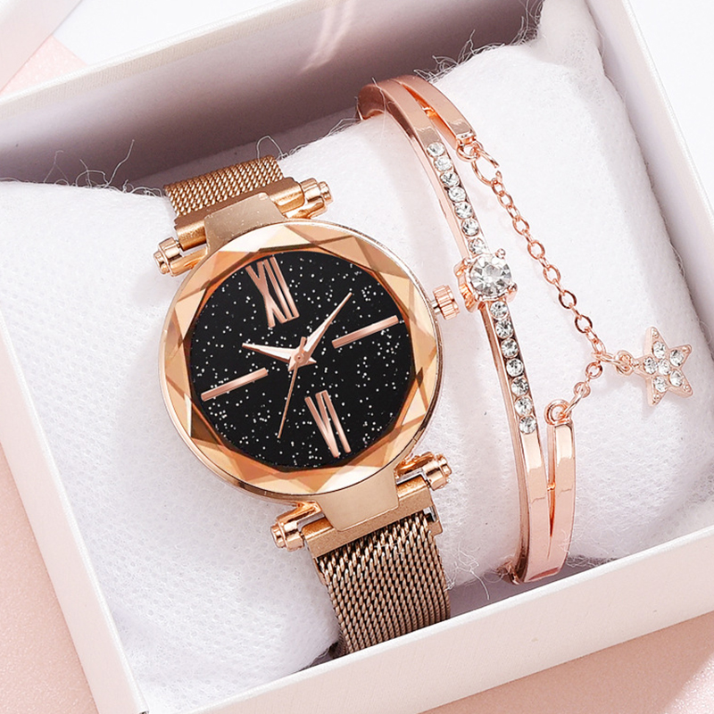 Women Watch Bracelet Starry Sky Rose Gold Fashion Ladies Watches For Women Quartz Wrist Watch Girl Wrist Clock Relogio Feminino