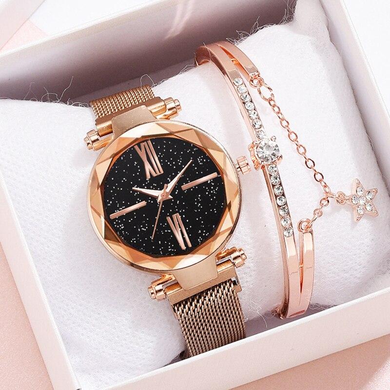 Women Watch Bracelet Starry Sky Rose Gold Fashion Ladies Watches For Women Quartz Wrist Watch Girl Wrist Clock Relogio Feminino