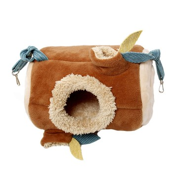 Plush Stump Hamster Tunnel Hammock Hanging Nest Soft House Bed Cage For Mini Animal Small Pet Mice Rat Nest Bed 4