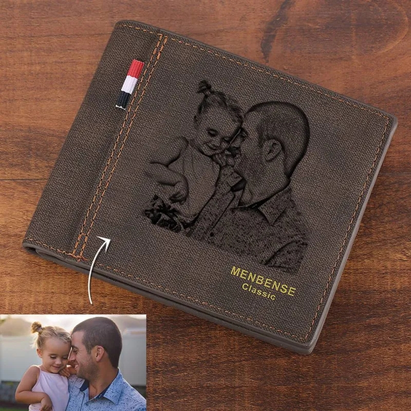 New Wallets Carving Custom Photo Engraved Wallet Short Style Bifold Large-capacity Multi-functional Business Wallet Purse