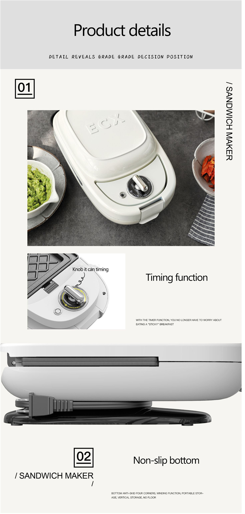 220 В многофункциональная машина для завтрака, мини-сэндвич-машина, двухсторонняя греющая вафельница с антипригарным покрытием, может быть приурочена