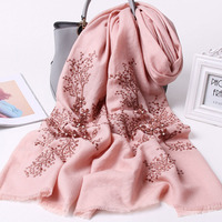 2019 New Embroidery Sheep Wool Scarf and Shawls For Women Autumn Winter Luxury Long Large Size Fine Wool Scarves Pink For Ladies