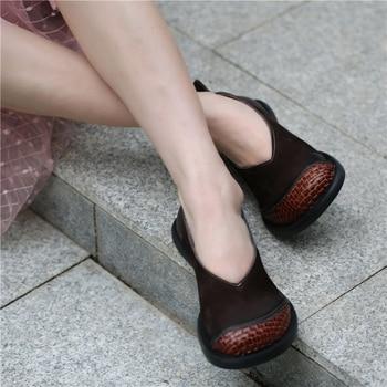 Женские лоферы из мягкой кожи на низком каблуке; Весенняя женская обувь на плоской подошве; Повседневные Брендовые женские кофейные туфли р