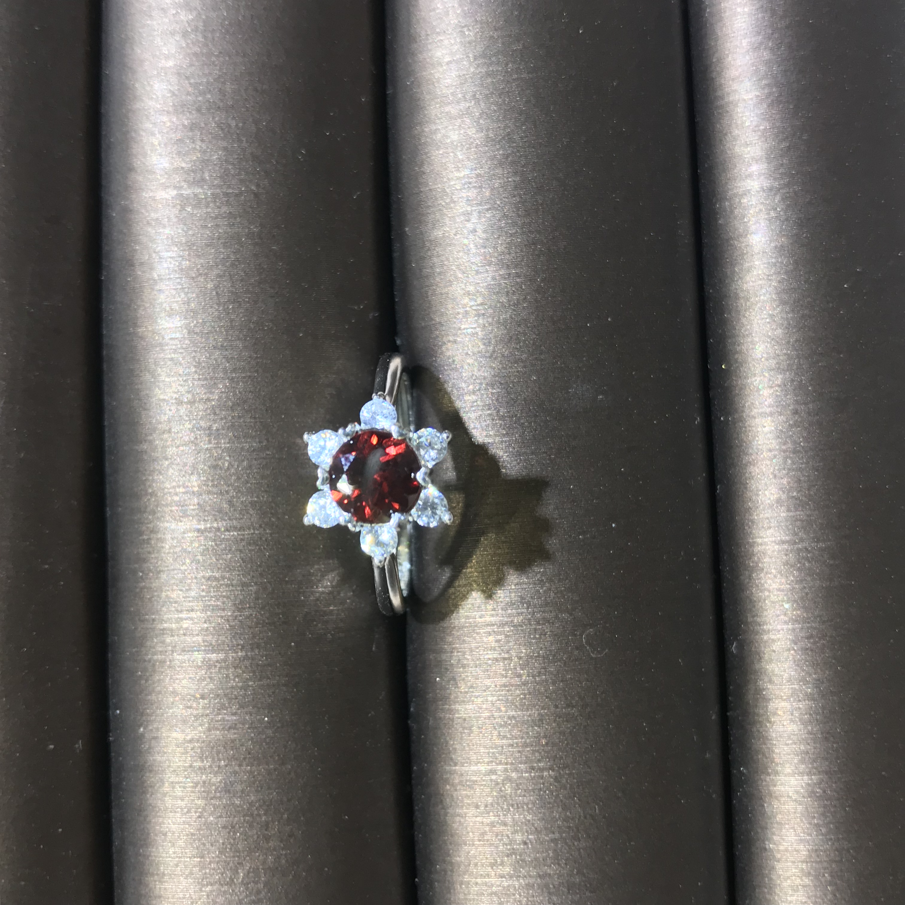 Natural Garnet Ring for Daily Wear 6mm*6mm Natural Garnet Silver Ring 925 Silver Garnet Jewelry gemstone ring