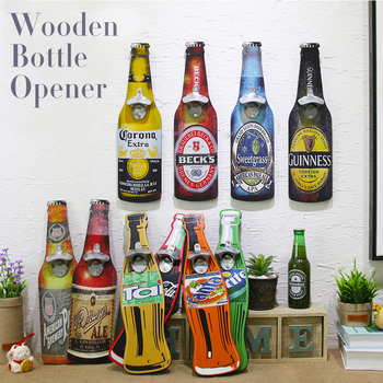 Gorąca sprzedaż Retro kreatywny otwieracz do piwa butelka drewniany otwieracz do butelek kawa ściana sklepowa zawieszki Bar restauracja dekoracja ścienna tanie i dobre opinie Wooden Bottle Opener Wood Wooden Retro and Nostalgic Old Furniture Prostokąt