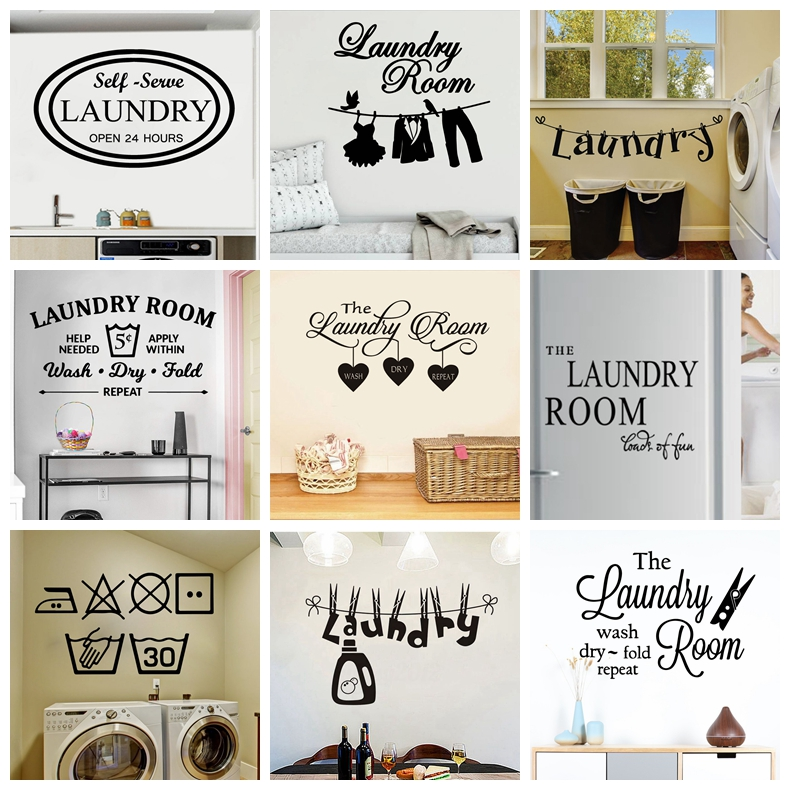 Laundry Room Washing Quotes And Signs Wall Sticker Decoration For Washing Room WC And Toliet Sticker Decor Accessories(China)