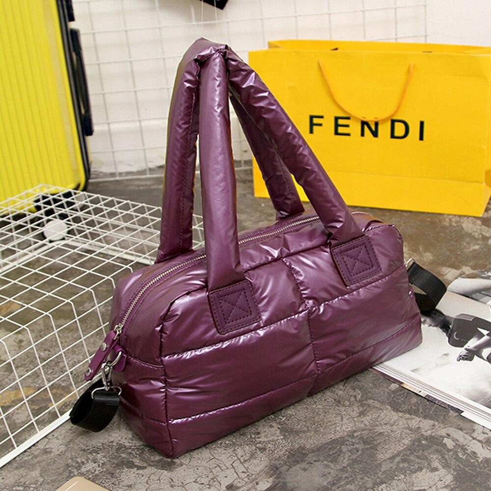 Women Space Cotton Handbags Casual Winter Ladies Fashion Bright Shoulder Bag New