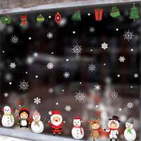 Рождественский подарок, снеговик Снежинка Электростатическая Наклейка Окно детская комната Новогодняя Наклейка на стену s домашние наклей...