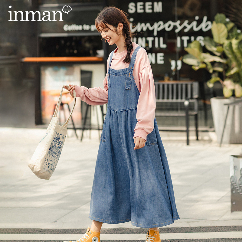 INMAN 2020 Spring New Arriavl Literary Leisure Loose Big Lower Hem Two Pockets Suspender Dress
