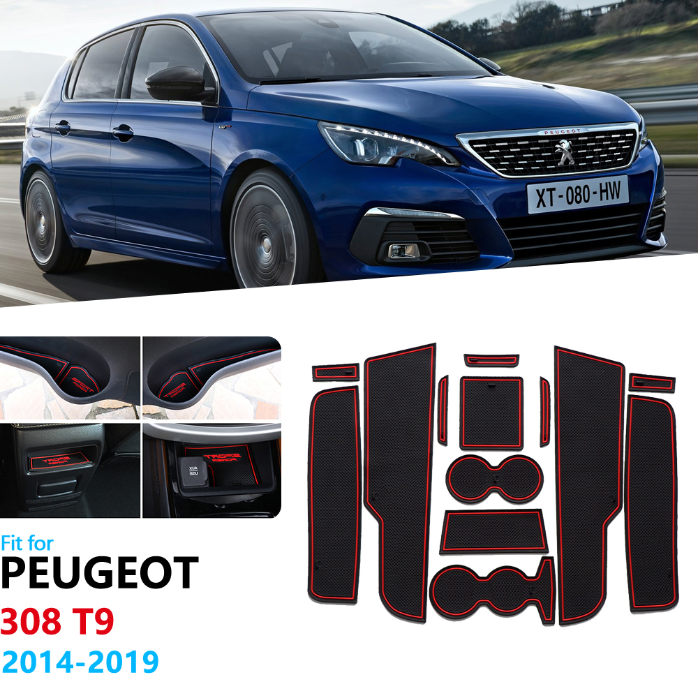 Anti-Slip Rubber Gate Slot Cup Mat For Peugeot 308 T9 2014 2015 2016 2017 2018 2019 MK2 Door Groove Mat Coaster Accessories