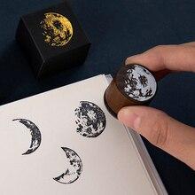 Vintage Luna serie sello de madera DIY artesanía madera goma sellos para álbum de recortes papelería scrapbooking sello estándar