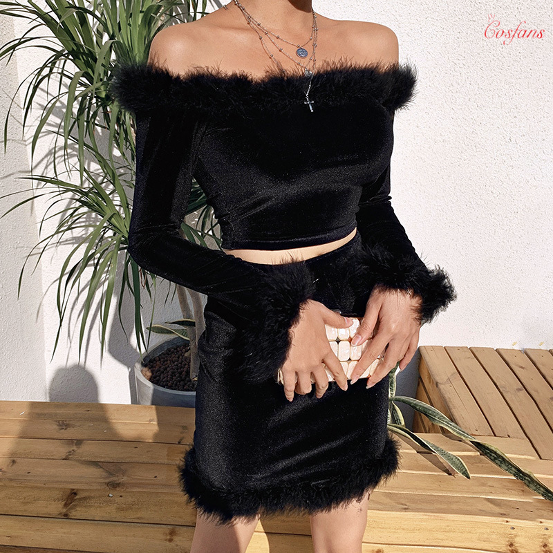 Black Fur Women Two Piece Set Festival Clothing Off Shoulder Long Sleeve Crop Top And Skirt Sexy Winter Birthday Outfits Suit