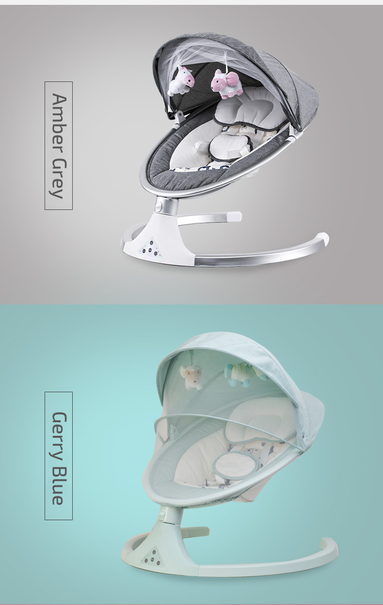 H0a6be24eead64bfdbb67149d0054138cA Infant Shining Smart Baby Rocker Electric Baby Cradle Crib Rocking Chair Baby Bouncer Newborn Calm Chair Belt Remote Control