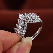 Anéis femininos moda glamour banquete casamento anel banhado a prata única linha zircão coroa anéis projetados para presente feminino para menina