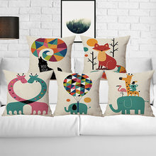 wholesale wedding gift pillow cover Colorful Animals Child Cartoon cushion cover homeoffice sofa decorative party pillow case(China)