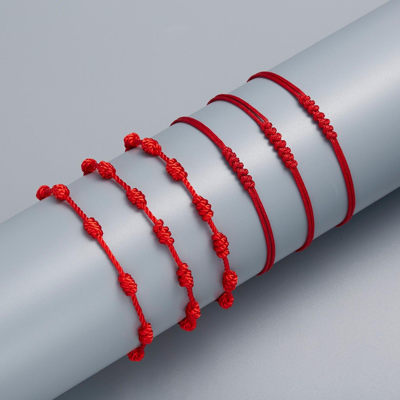 Минималистичный красный браслет ручной работы с 7 узлами, классический браслет сглаза, удачи, амулет для успеха и процветания, браслет дружб...