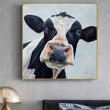Cute Cow Black and White Printed Canvas Painting Poster and Print Wall Art Picture Cuadros Home Decoration for Living Room Decor