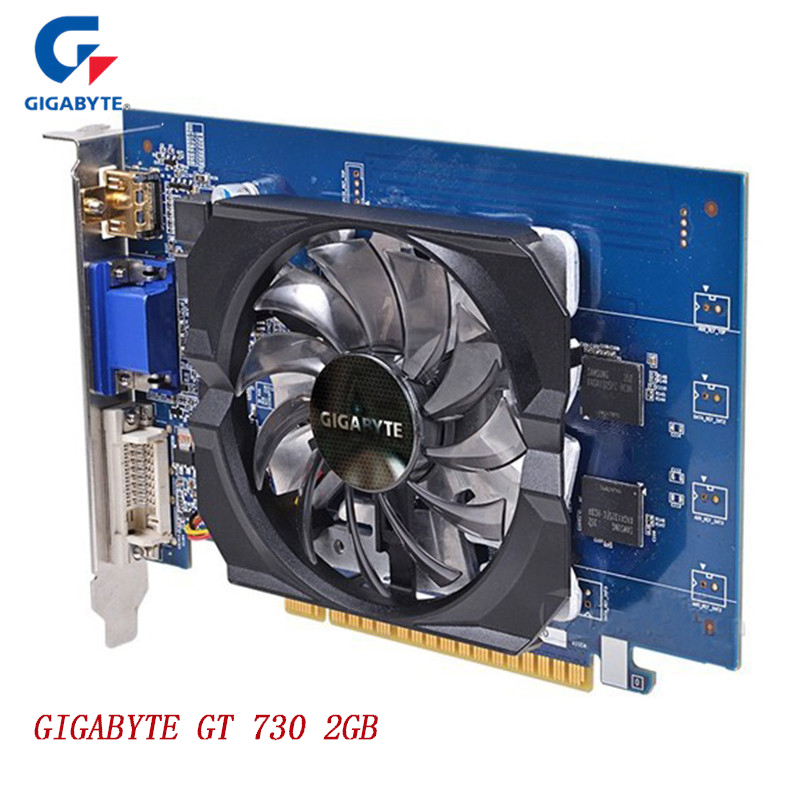 GIGABYTE NvidiaGra Graphics Cards GT730 2GB DDR5 64Bit GDDR5 Gaming Video Card For NVIDIA Geforce GT 730 HDMI DVI Used VGA Cards