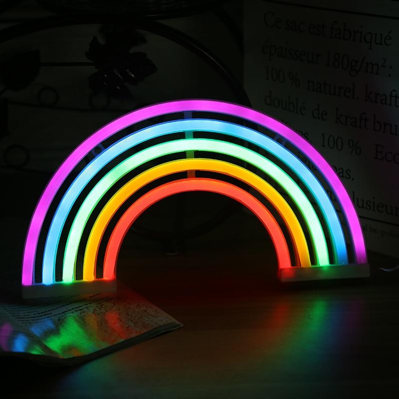 Cute USB Rainbow Neon Sign LED Rainbow Light Lamp for Dorm Rainbow Lamp Wall Decor Christmas Neon Bulb Tube Novelty Night Lamps