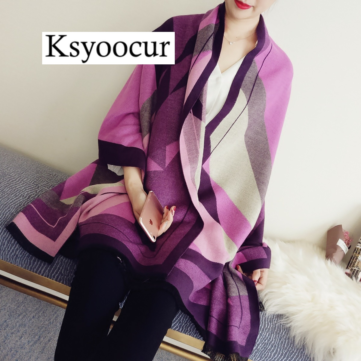 Size 200*70cm, 2020 New Autumn/Winter Long Section Cashmere Fashion Scarf Women Warm Shawls And Scarves Brand Ksyoocur E06