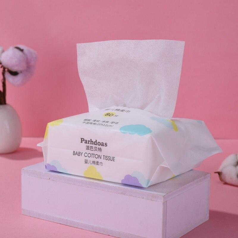 Parhdoas Baby Dry-wet Double Napkins 80PCS MakeUp Removers Flushable Sanitary Natural No Additives Cotton Towel Facial Tissue