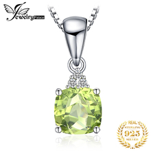 JewelryPalace 1.1ct Cushion-Cut Genuine Peridot Pendant Necklace 925 Sterling Silver Jewelry for Women Fine Jewelry lady natural garnet gems necklace pendant genuine colored tones women fine jewelry 925 sterling silver